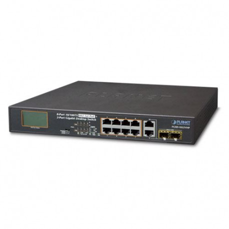 Planet 10-Port Unmanaged LCD Monitor PoE (8x 100Mbps 802.3at PoE (120W) 2-Port 1G TP SFP Combo) Desktop Switch