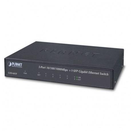 Planet 6-Port Unamanged Switch (5x RJ45 GbE 1x 1G SFP)