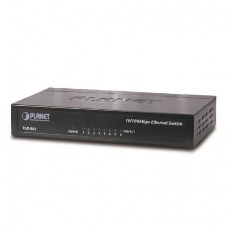 Planet 8-Port Unmanaged RJ45 100Mbps Switch (Metal case)