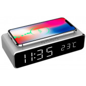 Gembird Digital alarm clock with wireless charging function, Silver