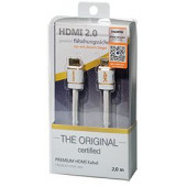 Transmedia HDMI Premium Certified Cable 3,0m, white nylon braided blister packaging