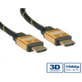 Roline GOLD HDMI kabel sa mrežom, HDMI M - HDMI M, 10m