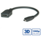 Roline HDMI kabel sa mrežom, TIP A (F) - TIP D (M) (micro), 0.15m