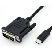 Roline USB-C - DVI kabel, M/M, 1.0m, crni