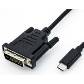 Roline USB-C - DVI kabel, M/M, 2.0m, crni