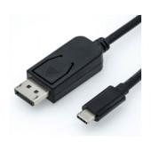 Roline USB-C - DisplayPort kabel, M/M, 1.0m, crni