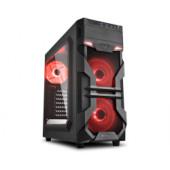 Sharkoon VG7-W Midi Tower ATX kućište, bez napajanja, prozirna prednja/bočna stranica, crveni LED, crno