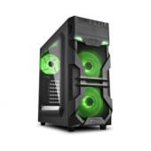 Sharkoon VG7-W Midi Tower ATX kućište, bez napajanja, prozirna prednja/bočna stranica, zeleni LED, crno