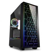 Sharkoon RGB LIT 100, Midi Tower ATX kućište, prozirna bočna stranica, bez napajanja, crno