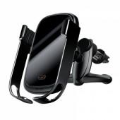 Car holder for phone BASEUS Rock Soild, wireless charging (black)