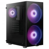 Case Aerocool PYTHON, ATX / Mid Tower / side window / RGB LED (black)