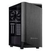 SilverStone SETA A1 Midi Tower ATX Computer Case, Tempered Glass Side panel, Titanium on black