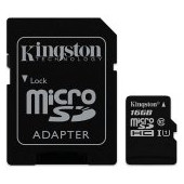 Kingston 16GB microSDXC Canvas Select Class 10 UHS-I 80MB/s Read Card + SD Adapter