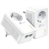 TP-Link AV1000 Powerline Gigabit mrežni adapter, 1000Mbps, dodatna strujna utičnica, 2×G-LAN, HomePlug AV2 (duplo pakira