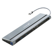 Canyon Multiport Docking Station with 14 ports: Type c data+Audio+Type C PD3.0 100W+SD+TF+2*USB3.0+U