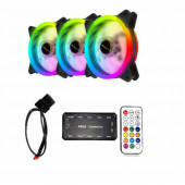 NaviaTec RGB PC Case Dual Ring Fan 3x Controller BUNDLE