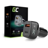 Green Cell auto punjač (CAD33), 1×USB-C, 1× USB Quick Charge