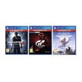 3 igre PS4: Gran Turismo+Uncharted 4:A Thief's End+Horizon Zero Dawn