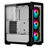 CORSAIR iCUE 220T RGB Tempered Glass Mid-Tower Smart Case — White