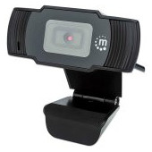 Manhattan Web Camera, 1080p, Full HD, USB, Integrated Microphone, Adjustable Clip Base, 30 fps, Blac