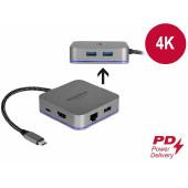 Docking station DELOCK, USB-C na USB-C, 3 x USB 3.0, HDMI, LAN, za mobilne uređaje