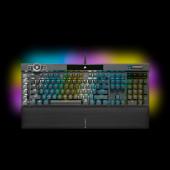 Tipkovnica CORSAIR K100 RGB, optičko-mehanička, Corsair OPX, US Layout, USB, crna