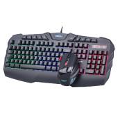 Tipkovnica + miš NEON ZELUS KIT, gaming, žična, backlight, rainbow
