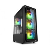 Sharkoon TK4 RGB Midi Tower ATX kućište bez napajanja, prozirna bočna stranica, prednji/stražnji ventilatori 4×120mmi, c
