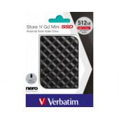 Verbatim Store'n'Go Mini SSD 512GB, USB3.2 Gen1, crni