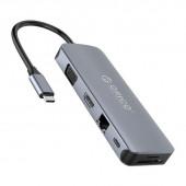 Priključna postaja USB-C, 4x USB 3.0, LAN, HDMI, VGA, avdio, čitalec kartic, aluminij, ORICO