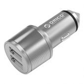 Orico USB auto punjač, 2 porta, aluminij, srebrni