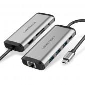 Vention USB-C to HDMI USB3.0*3 TF SD RJ45 3.5mm PD Docking Station 0.15m Gray