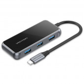 Vention USB-C to HDMI USB3.0*3 RJ45 PD Docking Station 0.15m Gray