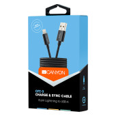 Canyon Lightning USB Cable for Apple, braided, metallic shell, cable length 1m, Black, 14.9*6.8*1000
