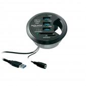 DeLOCK table Hub 3 Port USB 3.0 + 2 Slot SD Card Reader (Black)