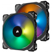 Corsair ML140 PRO RGB LED 140MM PWM Premium Magnetic Levitation Fan — Twin Fan Pack