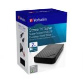 """Verbatim 3.5"""" Store'n Save 2TB HDD, USB3.0, crni"""