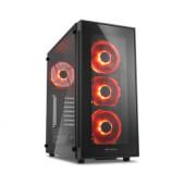 Sharkoon TG5 Midi Tower ATX kućište, bez napajanja, prozirna prednja/bočna stranica, crveni LED, crno