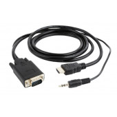 Gembird HDMI to VGA and audio adapter cable, single port, black 1,8m