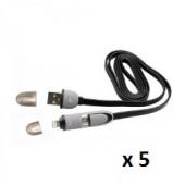 SBOX kabel USB za android i iPhone crni, 5 kom