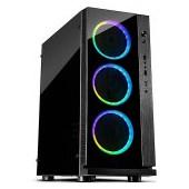 Chassis INTER-TECH W-III RGB Gaming Midi Tower, ATX, 1xUSB3.0, 2xUSB2.0, audio, PSU optional, Acryli