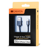 CANYON CNS-MFICAB01B Ultra-compact MFI Cable, certified by Apple, 1M length , 2.8mm , black color