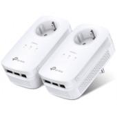 TP-Link AV1300 Powerline Gigabit mrežni adapter, 1300Mbps, 3×GLAN, 2×2 MIMO, dodatna strujna utičnica, HomePlug AV2 (dupl