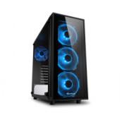 Sharkoon TG4 Midi Tower ATX kućište, bez napajanja, prozirna prednja/bočna stranica, plavi LED, crno