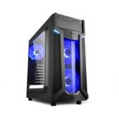 Sharkoon VG6-W Midi Tower ATX kućište, bez napajanja, prozirna prednja/bočna stranica, plavi LED, crno
