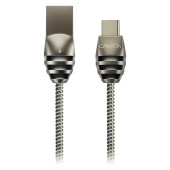 Type C USB 2.0 standard cable, Power & Data output, 5V 2A, OD 3.5mm, metallic Jacket, 1m,  gun color