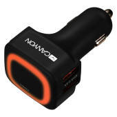 CANYON Universal  4xUSB car adapter, Input 12V-24V, Output 5V-4.8A, with Smart IC, black  rubber coa