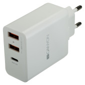 CANYON Universal 3xUSB AC charger (in wall) with over-voltage protection(1 USB-C with PD Quick Charg