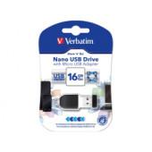 Verbatim USB2.0 Nano Store'n'Go 16GB + OTG microUSB adapter, crni