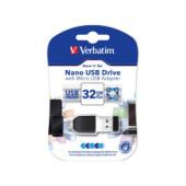 Verbatim USB2.0 Nano Store'n'Go 32GB + OTG microUSB adapter, crni
